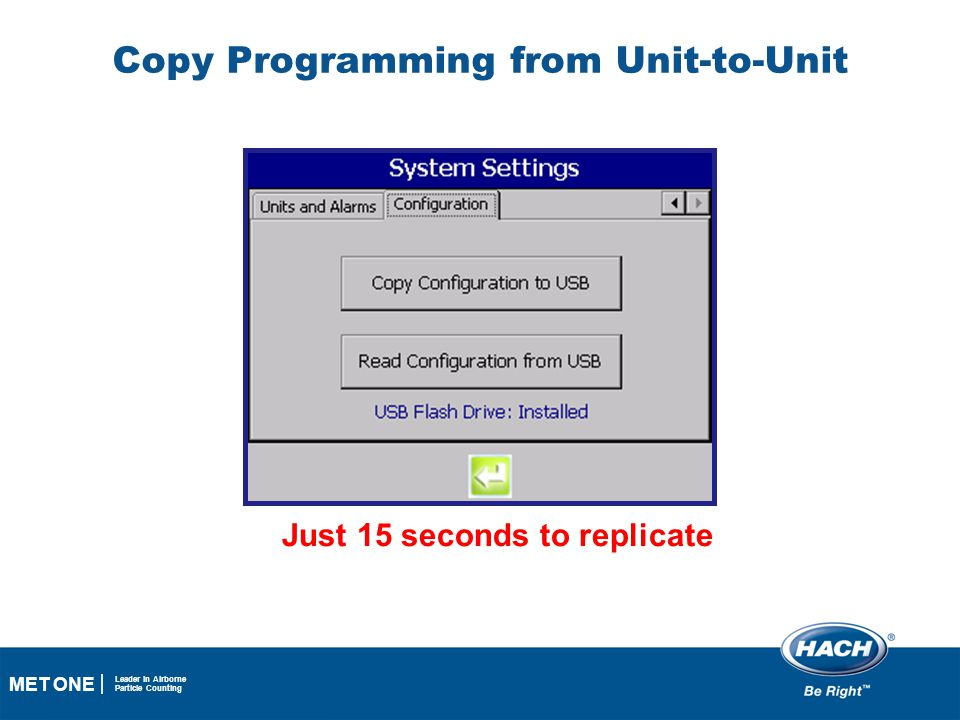 31 MET ONE Leader in Airborne Particle Counting Copy Programming from Unit-to-Unit Just 15 seconds to replicate