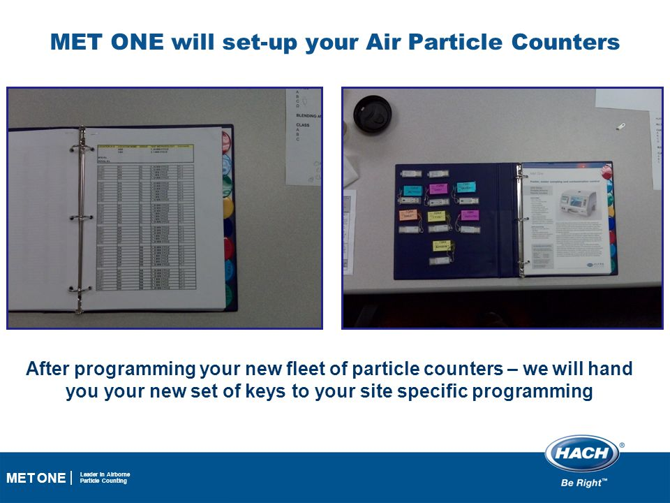 42 MET ONE Leader in Airborne Particle Counting MET ONE will set-up your Air Particle Counters After programming your new fleet of particle counters –