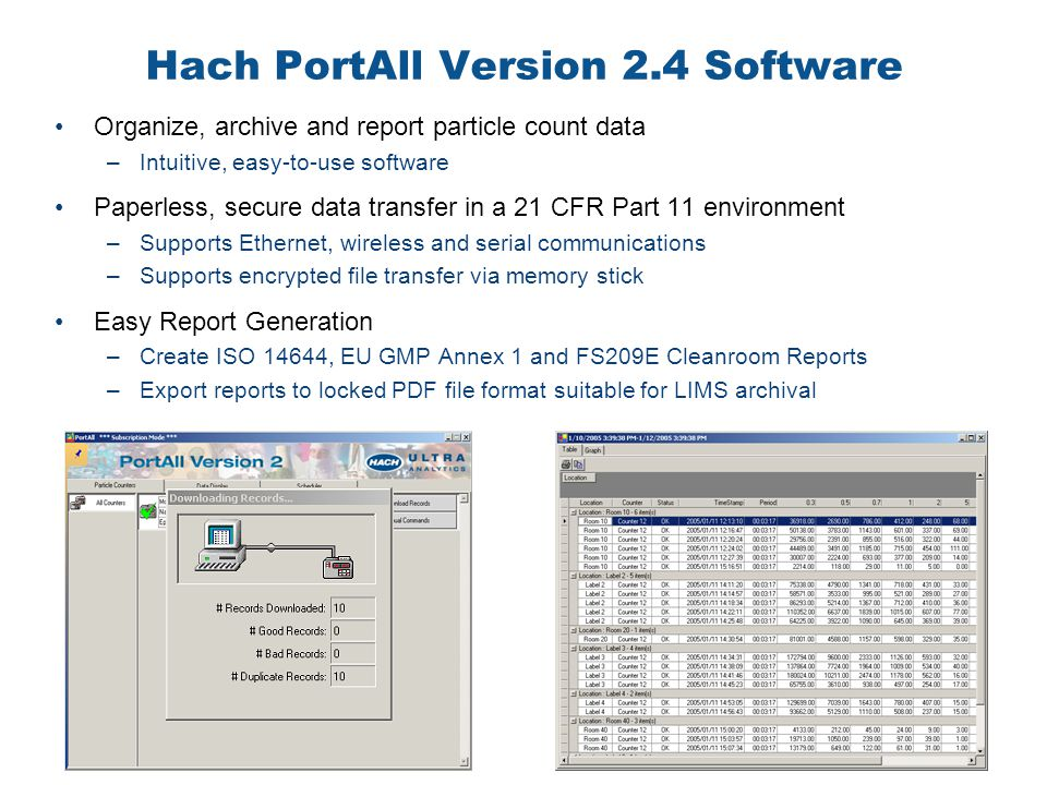 Hach PortAll Version 2.4 Software Organize, archive and report particle count data –Intuitive, easy-to-use software Paperless, secure data transfer in