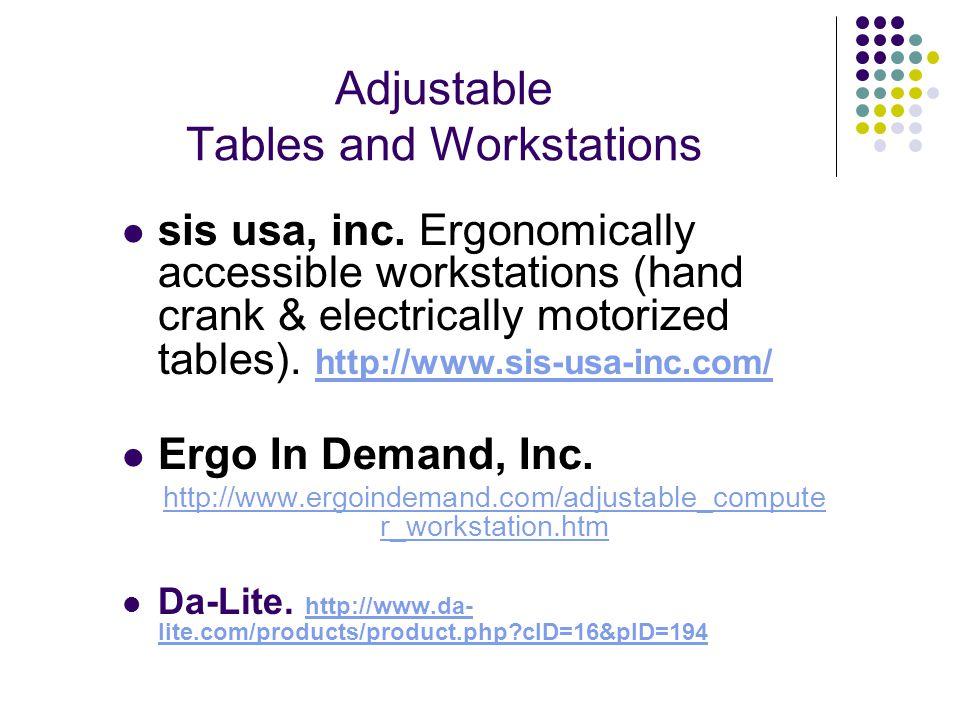 Adjustable Tables and Workstations sis usa, inc.