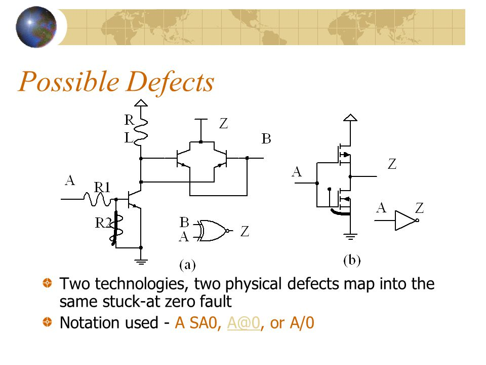 Faults and their Detection Physical failures are manifested as electrical failures and are interpreted as faults on the logic level Several physical d