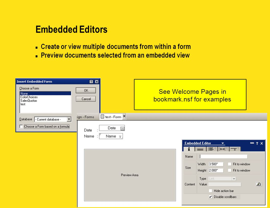 Embedded Editors n Create or view multiple documents from within a form n Preview documents selected from an embedded view See Welcome Pages in bookmark.nsf for examples