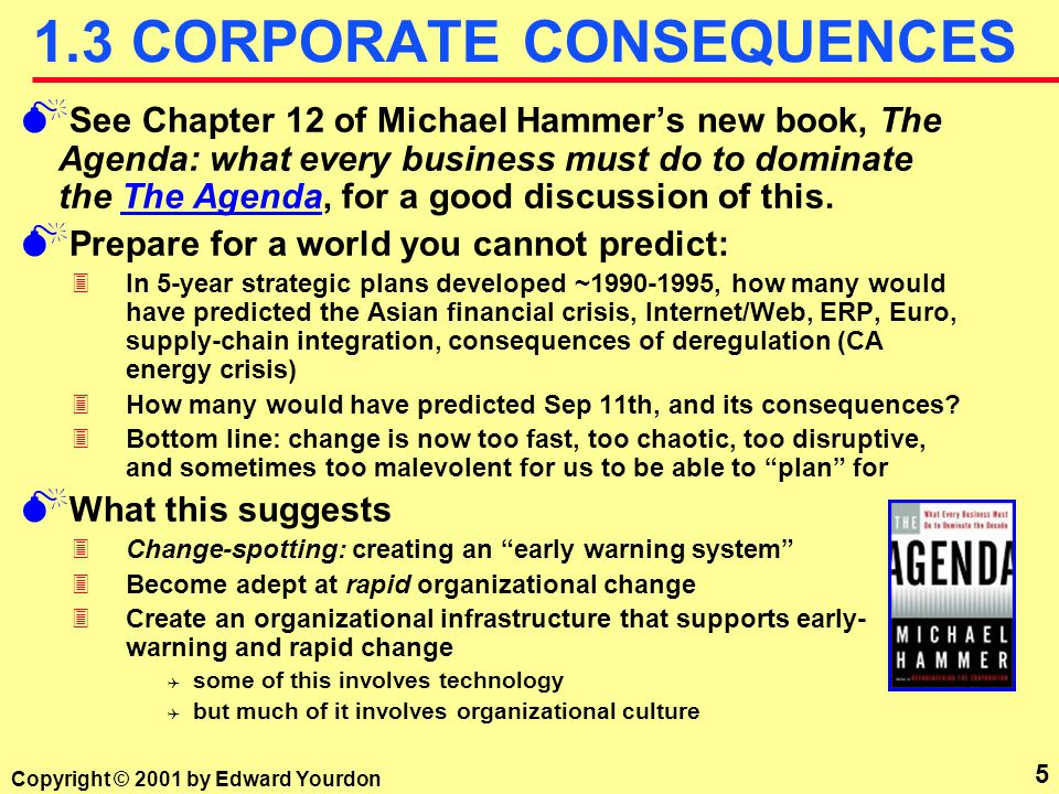 5 Copyright © 2001 by Edward Yourdon 1.3 CORPORATE CONSEQUENCES M See Chapter 12 of Michael Hammer's new book, The Agenda: what every business must do to dominate the The Agenda, for a good discussion of this.The Agenda M Prepare for a world you cannot predict: 3In 5-year strategic plans developed ~1990-1995, how many would have predicted the Asian financial crisis, Internet/Web, ERP, Euro, supply-chain integration, consequences of deregulation (CA energy crisis) 3How many would have predicted Sep 11th, and its consequences.