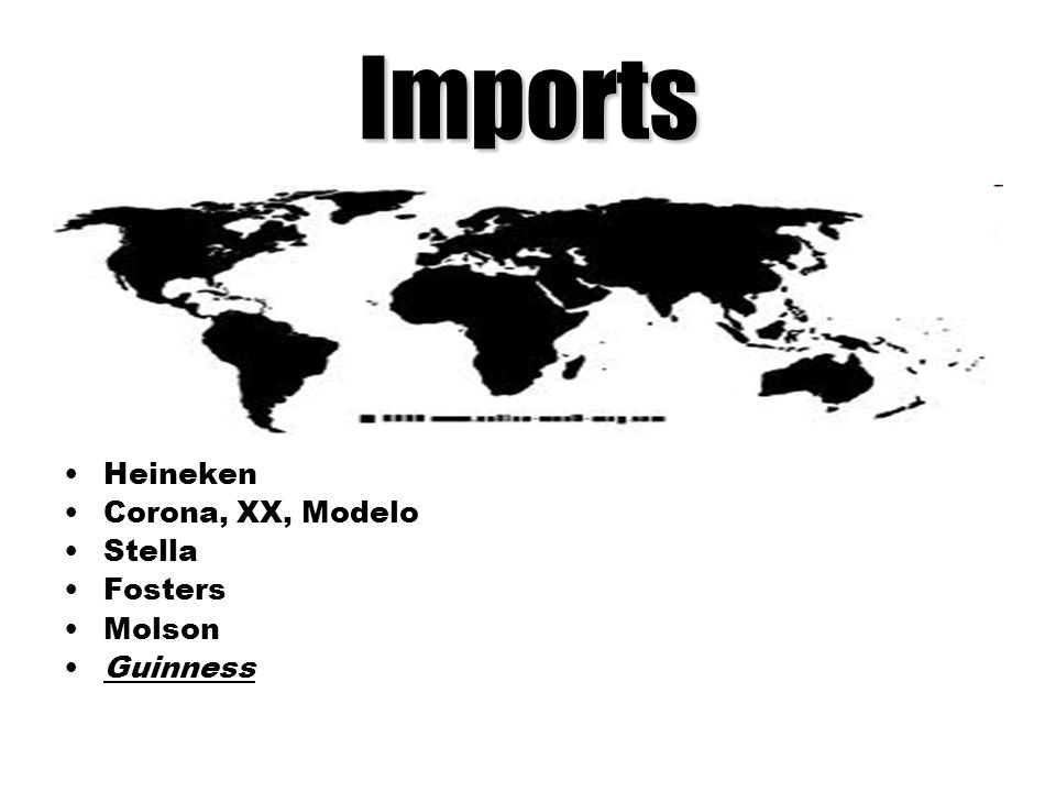Imports Heineken Corona, XX, Modelo Stella Fosters Molson Guinness