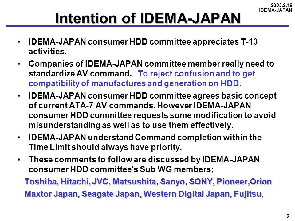2003.2.19 IDEMA-JAPAN 2 Intention of IDEMA-JAPAN IDEMA-JAPAN consumer HDD committee appreciates T-13 activities. Companies of IDEMA-JAPAN committee me