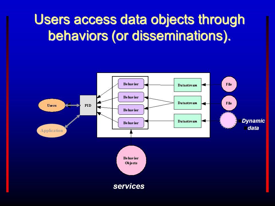 Application Users access data objects through behaviors (or disseminations). Dynamic data services