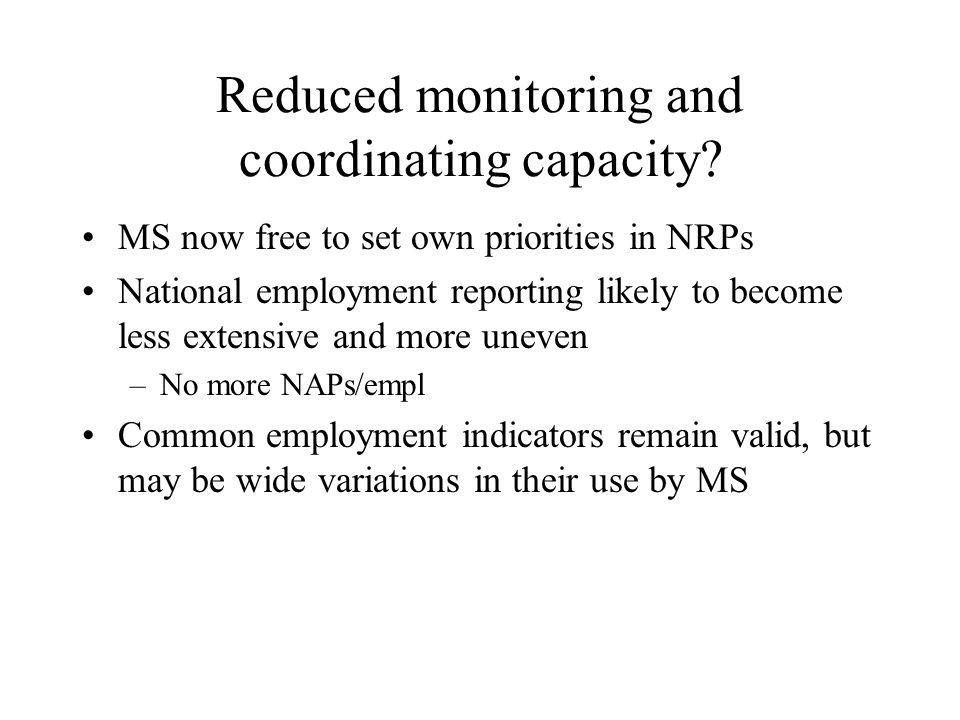 Reduced monitoring and coordinating capacity.