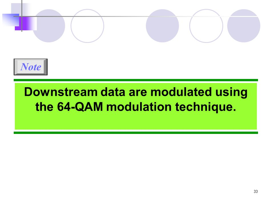 33 Downstream data are modulated using the 64-QAM modulation technique. Note