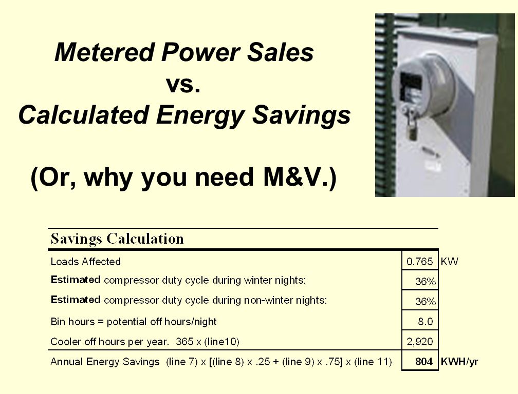 Metered Power Sales vs. Calculated Energy Savings (Or, why you need M&V.)