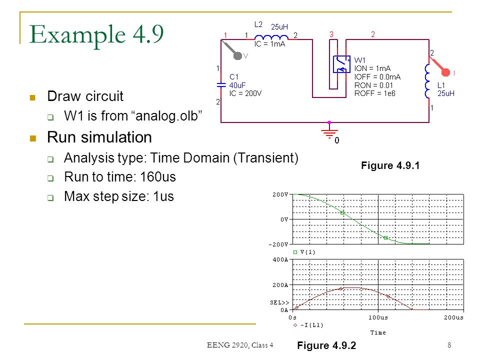 "EENG 2920, Class 4 8 Example 4.9 Draw circuit  W1 is from ""analog.olb"" Run simulation  Analysis type: Time Domain (Transient)  Run to time: 160us "