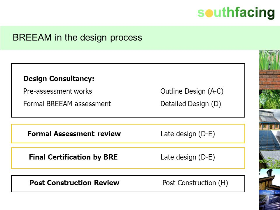 BREEAM in the design process Design Consultancy: Pre-assessment works Formal BREEAM assessment Formal Assessment review Final Certification by BRE Pos