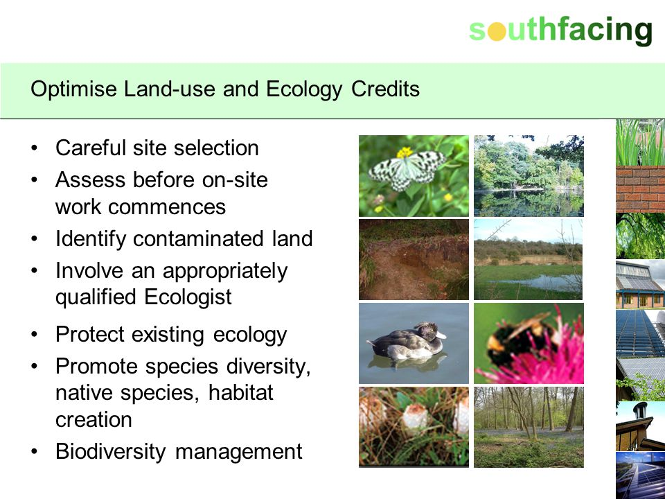 Optimise Land-use and Ecology Credits Careful site selection Assess before on-site work commences Identify contaminated land Involve an appropriately