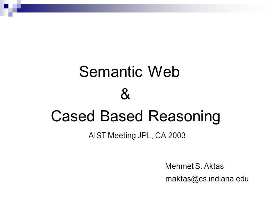 Semantic Web & Cased Based Reasoning AIST Meeting JPL, CA 2003 Mehmet S.