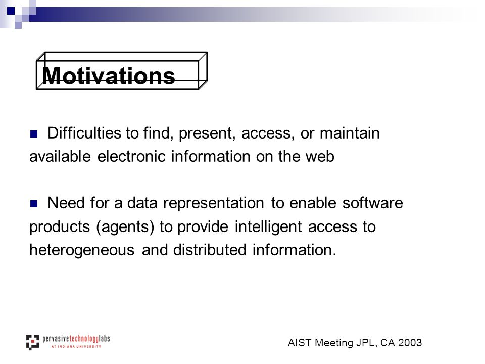AIST Meeting JPL, CA 2003 Motivations Difficulties to find, present, access, or maintain available electronic information on the web Need for a data r