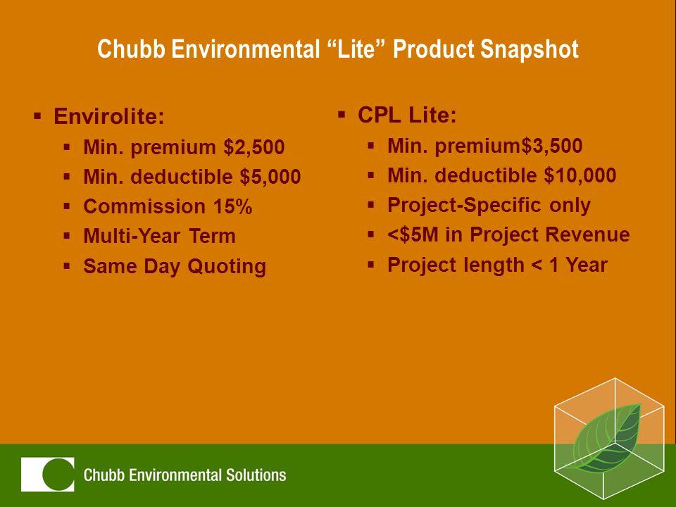 Chubb Environmental Lite Product Snapshot  Envirolite:  Min.