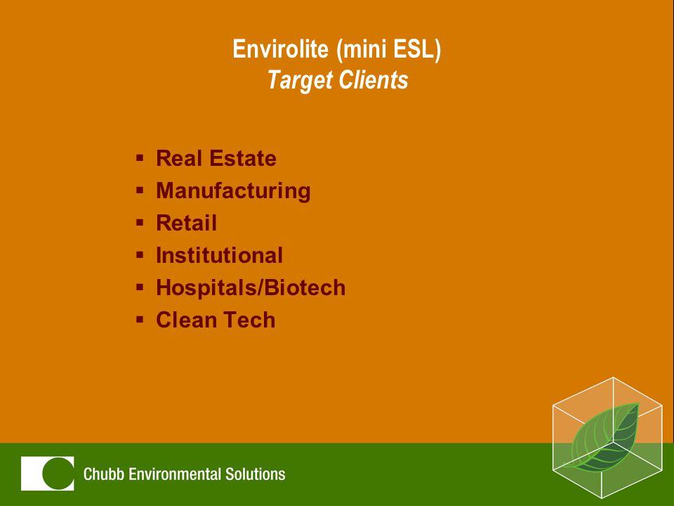 Envirolite (mini ESL) Target Clients  Real Estate  Manufacturing  Retail  Institutional  Hospitals/Biotech  Clean Tech