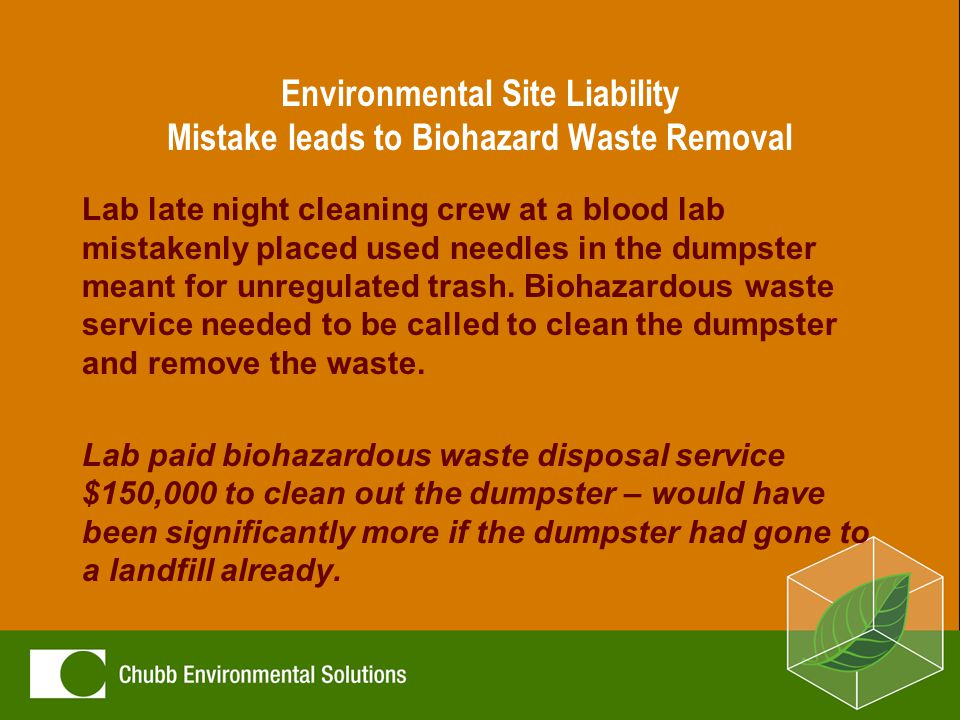 Environmental Site Liability Mistake leads to Biohazard Waste Removal Lab late night cleaning crew at a blood lab mistakenly placed used needles in the dumpster meant for unregulated trash.