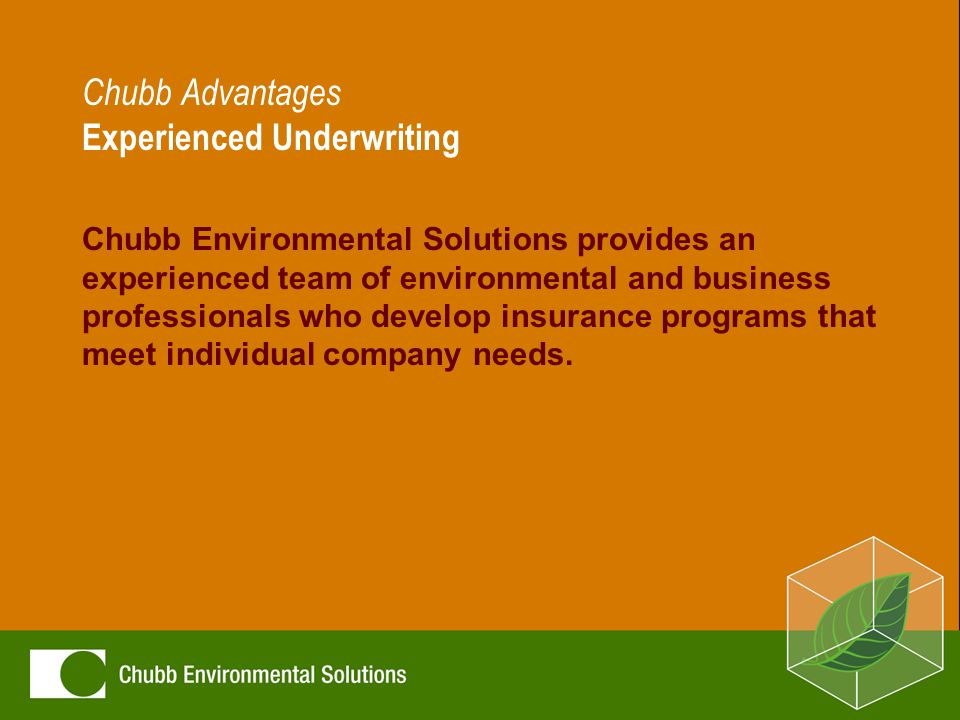 Chubb Advantages Experienced Underwriting Chubb Environmental Solutions provides an experienced team of environmental and business professionals who develop insurance programs that meet individual company needs.
