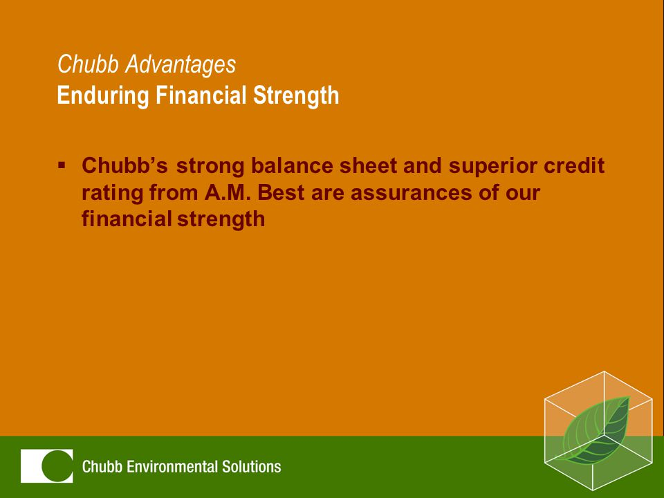 Chubb Advantages Enduring Financial Strength  Chubb's strong balance sheet and superior credit rating from A.M.