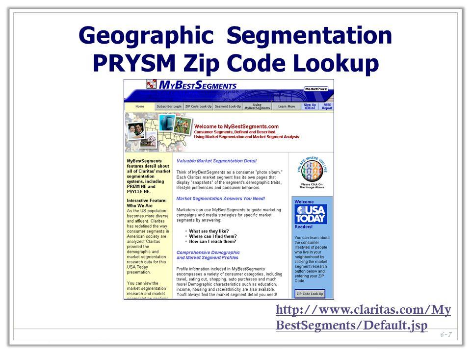 6-7 http://www.claritas.com/My BestSegments/Default.jsp Geographic Segmentation PRYSM Zip Code Lookup