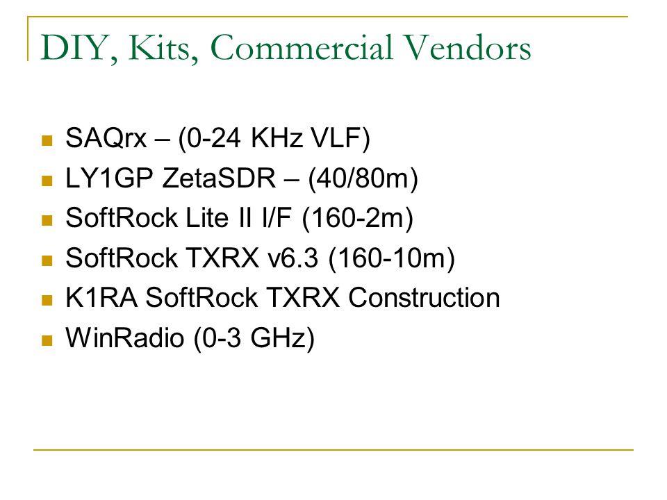 DIY, Kits, Commercial Vendors SAQrx – (0-24 KHz VLF) LY1GP ZetaSDR – (40/80m) SoftRock Lite II I/F (160-2m) SoftRock TXRX v6.3 (160-10m) K1RA SoftRock