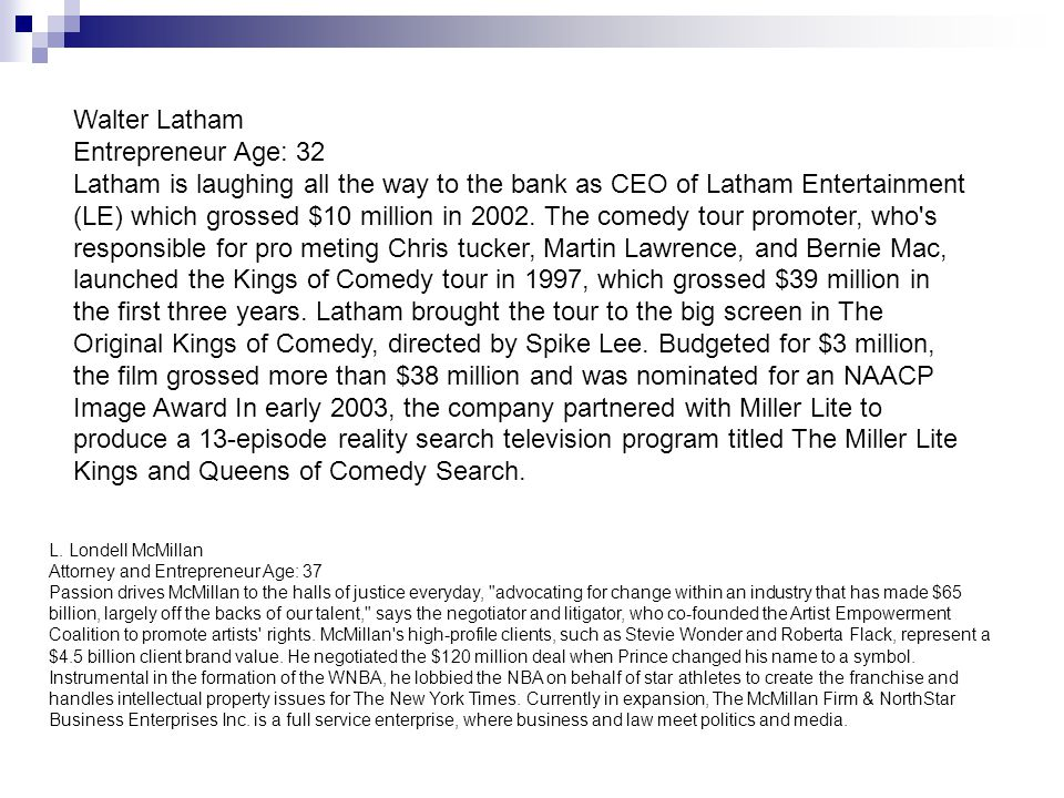 Walter Latham Entrepreneur Age: 32 Latham is laughing all the way to the bank as CEO of Latham Entertainment (LE) which grossed $10 million in 2002.