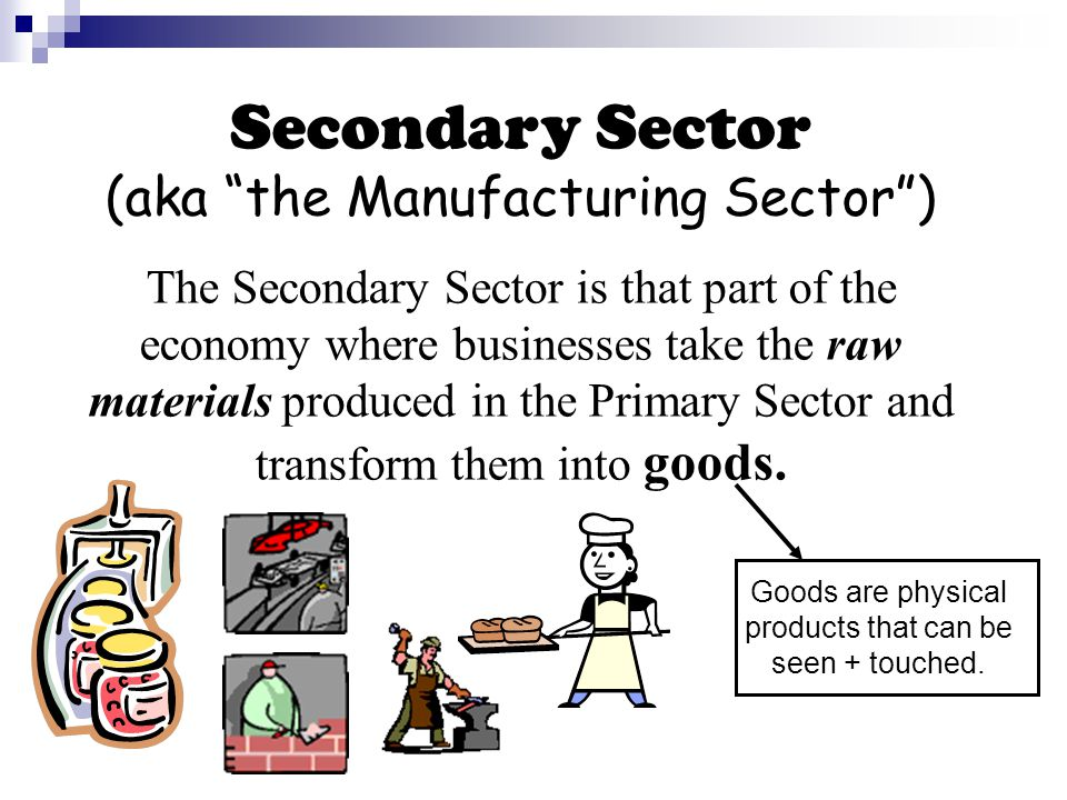 Secondary Sector (aka the Manufacturing Sector ) The Secondary Sector is that part of the economy where businesses take the raw materials produced in the Primary Sector and transform them into goods.