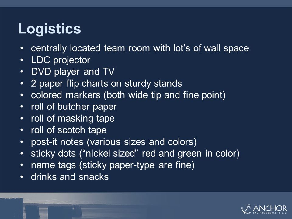 Logistics centrally located team room with lot's of wall space LDC projector DVD player and TV 2 paper flip charts on sturdy stands colored markers (both wide tip and fine point) roll of butcher paper roll of masking tape roll of scotch tape post-it notes (various sizes and colors) sticky dots ( nickel sized red and green in color) name tags (sticky paper-type are fine) drinks and snacks