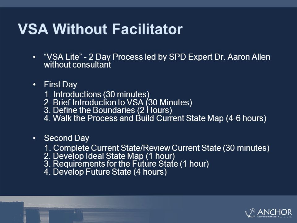 VSA Without Facilitator VSA Lite - 2 Day Process led by SPD Expert Dr.