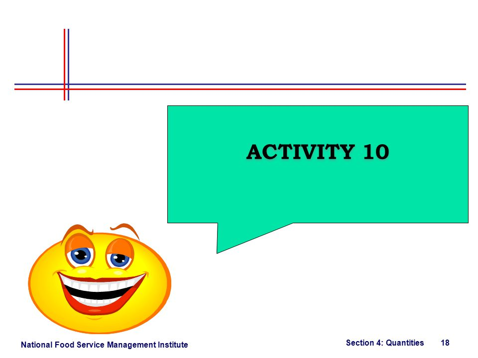 National Food Service Management Institute Section 4: Quantities 18 ACTIVITY 10