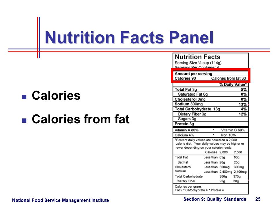 National Food Service Management Institute Section 9: Quality Standards 25 Nutrition Facts Panel Calories Calories from fat