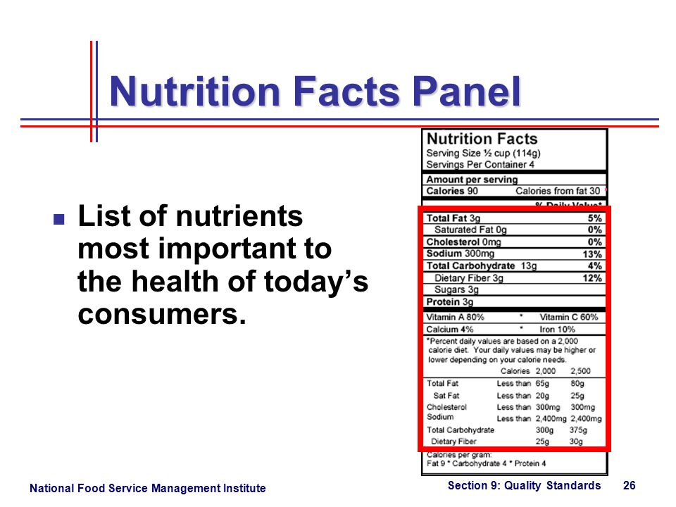 National Food Service Management Institute Section 9: Quality Standards 26 Nutrition Facts Panel List of nutrients most important to the health of today's consumers.