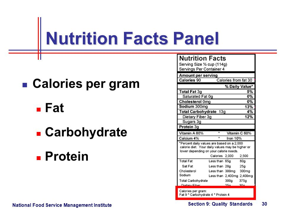 National Food Service Management Institute Section 9: Quality Standards 30 Nutrition Facts Panel Calories per gram Fat Carbohydrate Protein