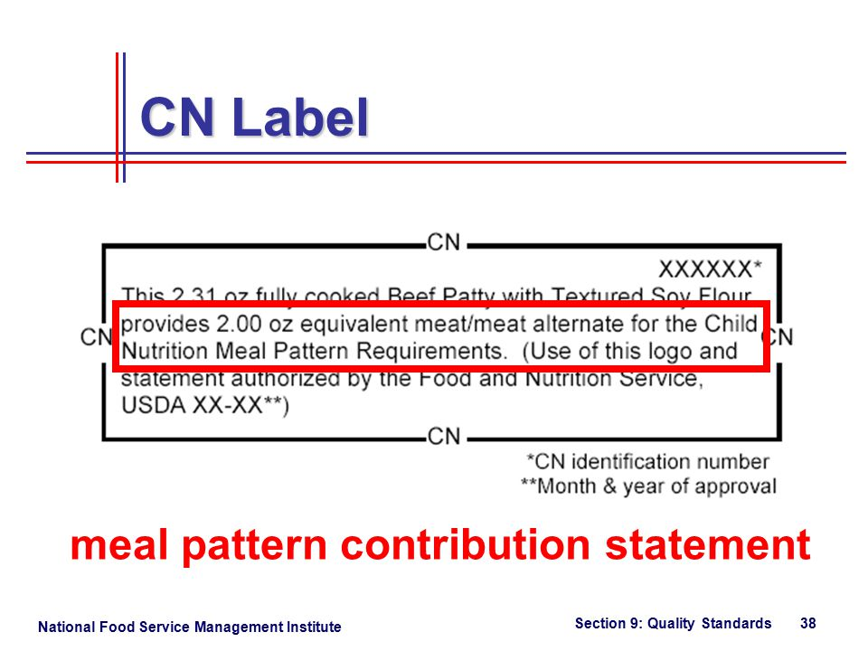 National Food Service Management Institute Section 9: Quality Standards 38 CN Label meal pattern contribution statement