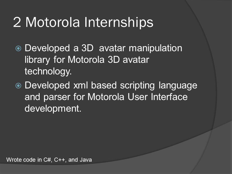 2 Motorola Internships  Developed a 3D avatar manipulation library for Motorola 3D avatar technology.