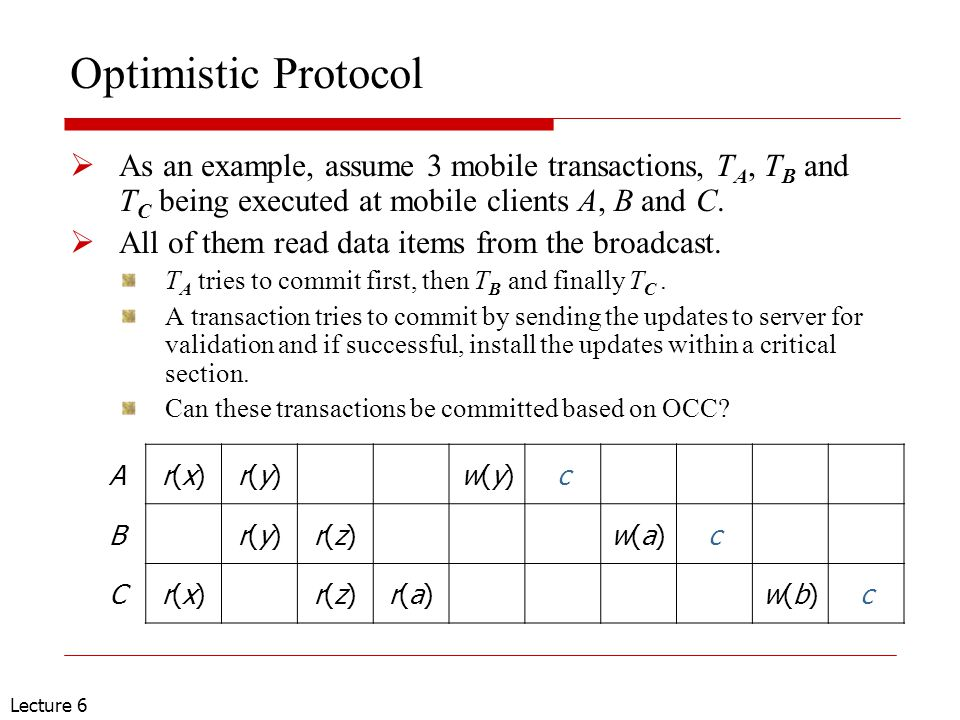Lecture 6 Optimistic Protocol  As an example, assume 3 mobile transactions, T A, T B and T C being executed at mobile clients A, B and C.  All of th