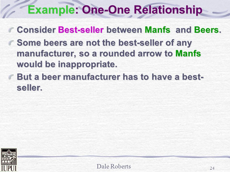 Dale Roberts 24 Example: One-One Relationship Consider Best-seller between Manfs and Beers.