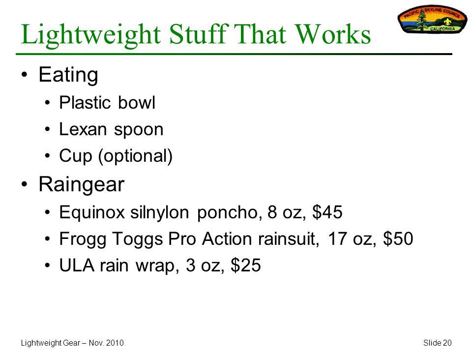 Lightweight Gear – Nov.