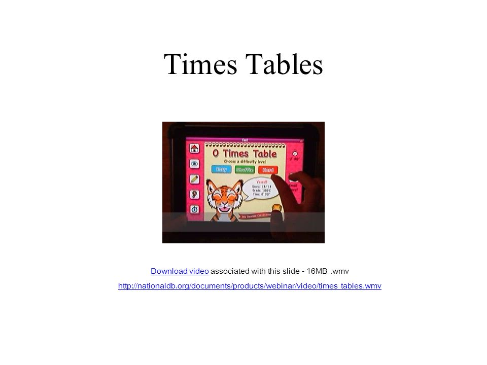 Times Tables Download videoDownload video associated with this slide - 16MB.wmv http://nationaldb.org/documents/products/webinar/video/times tables.wmv