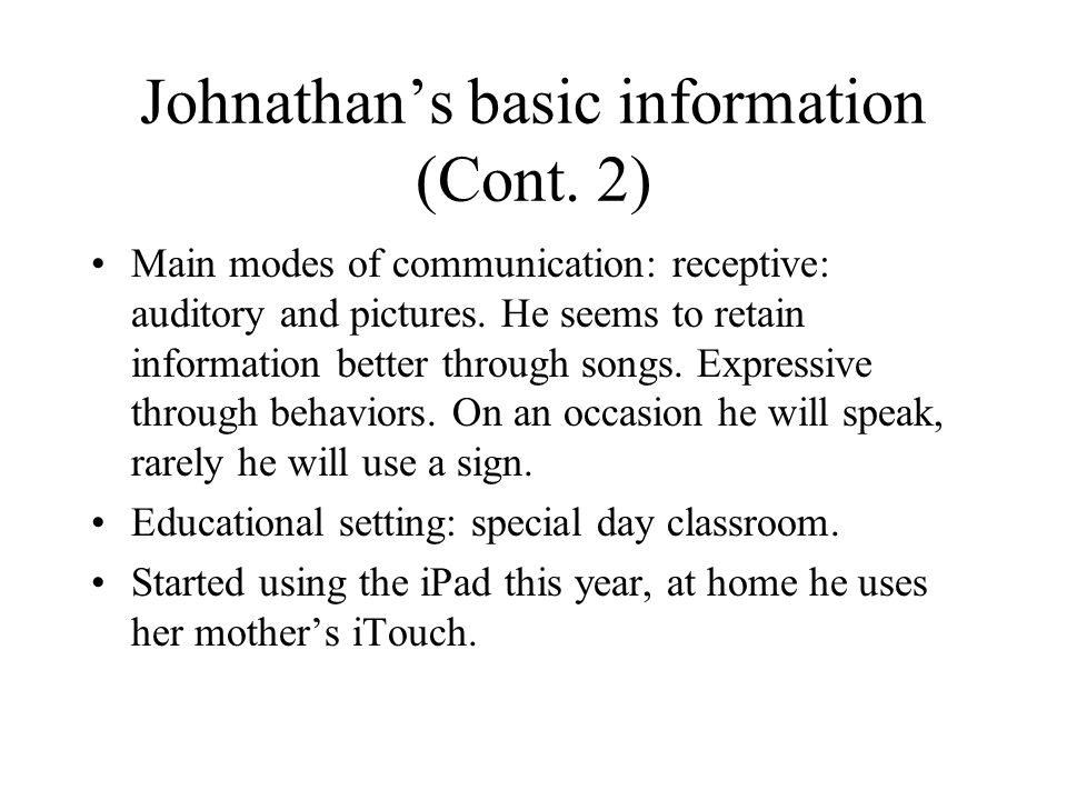Johnathan's basic information (Cont.