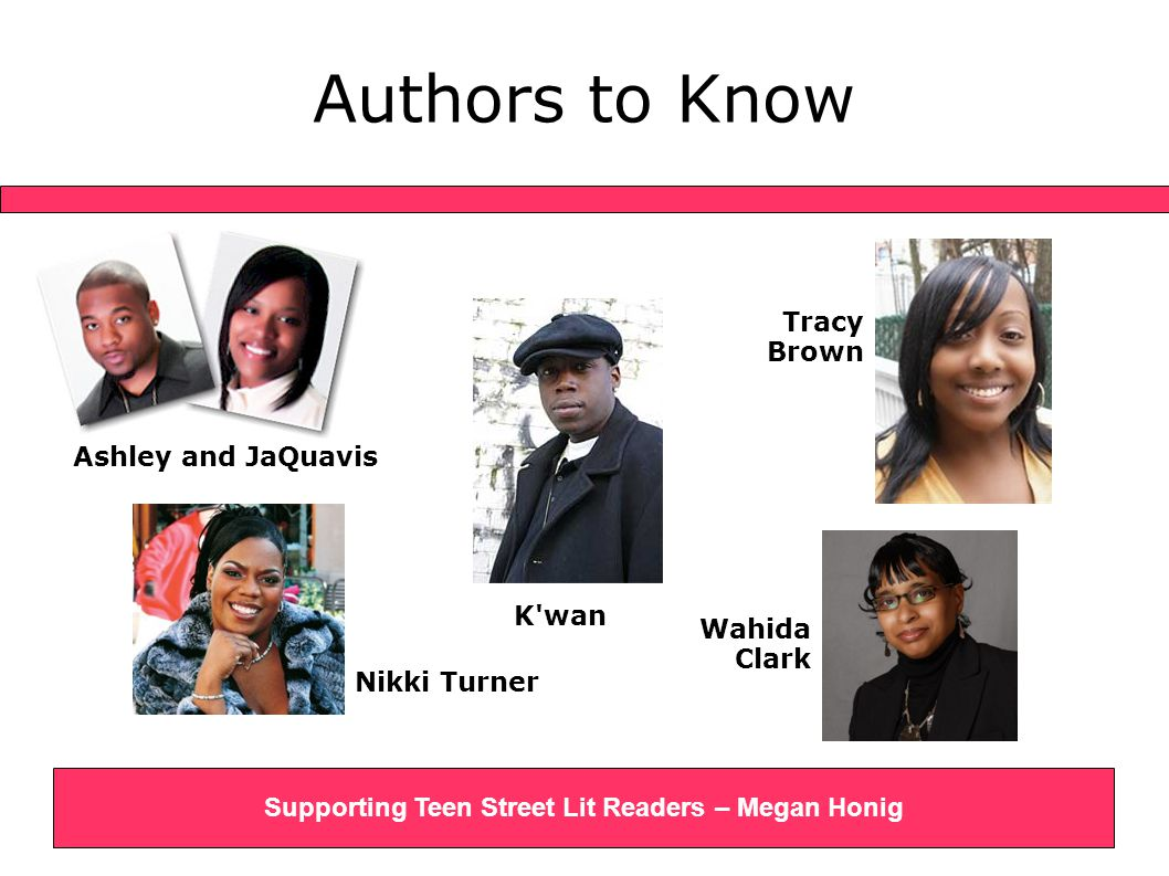 Authors to Know Ashley and JaQuavis Supporting Teen Street Lit Readers – Megan Honig Nikki Turner K wan Wahida Clark Tracy Brown