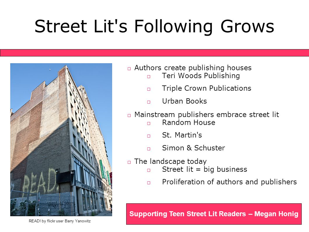 Readers Advisory: First Steps Supporting Teen Street Lit Readers – Megan Honig  Respecting street lit readers  The readers advisory conversation  Beyond street lit  Realistic teen fiction  Street lit lite  A world of possibilities...