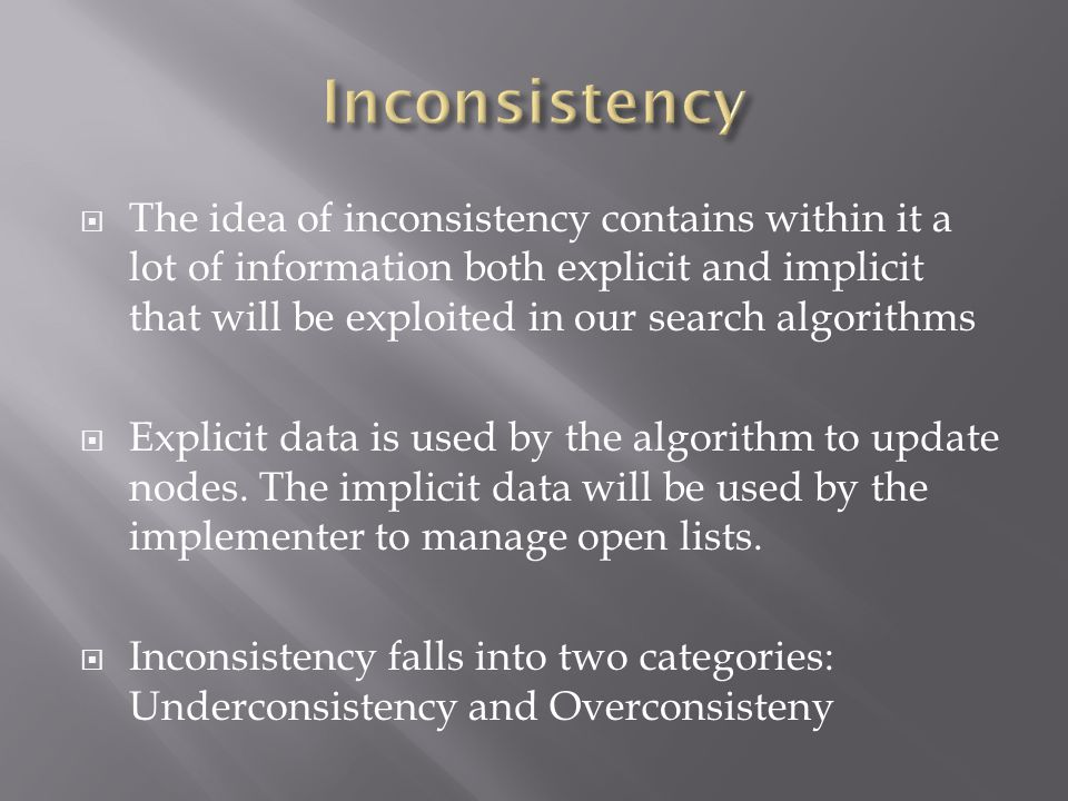  The idea of inconsistency contains within it a lot of information both explicit and implicit that will be exploited in our search algorithms  Explicit data is used by the algorithm to update nodes.