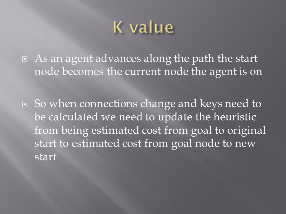  As an agent advances along the path the start node becomes the current node the agent is on  So when connections change and keys need to be calculated we need to update the heuristic from being estimated cost from goal to original start to estimated cost from goal node to new start