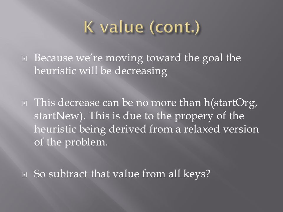  Because we're moving toward the goal the heuristic will be decreasing  This decrease can be no more than h(startOrg, startNew).