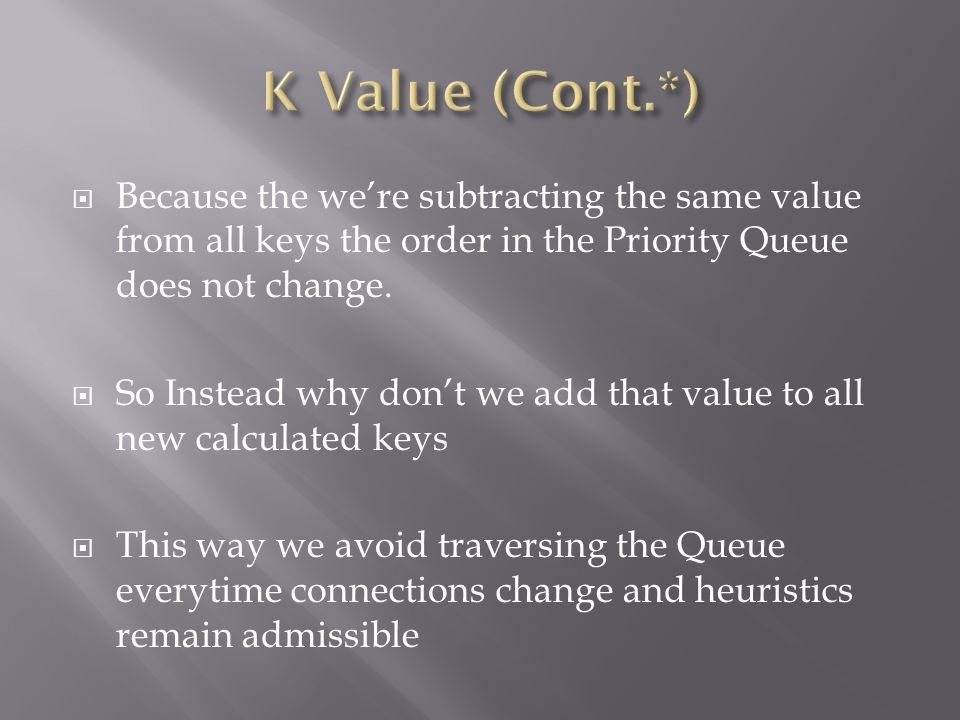  Because the we're subtracting the same value from all keys the order in the Priority Queue does not change.