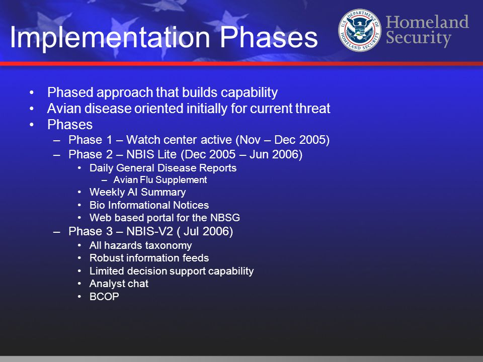 Implementation Phases Phased approach that builds capability Avian disease oriented initially for current threat Phases –Phase 1 – Watch center active