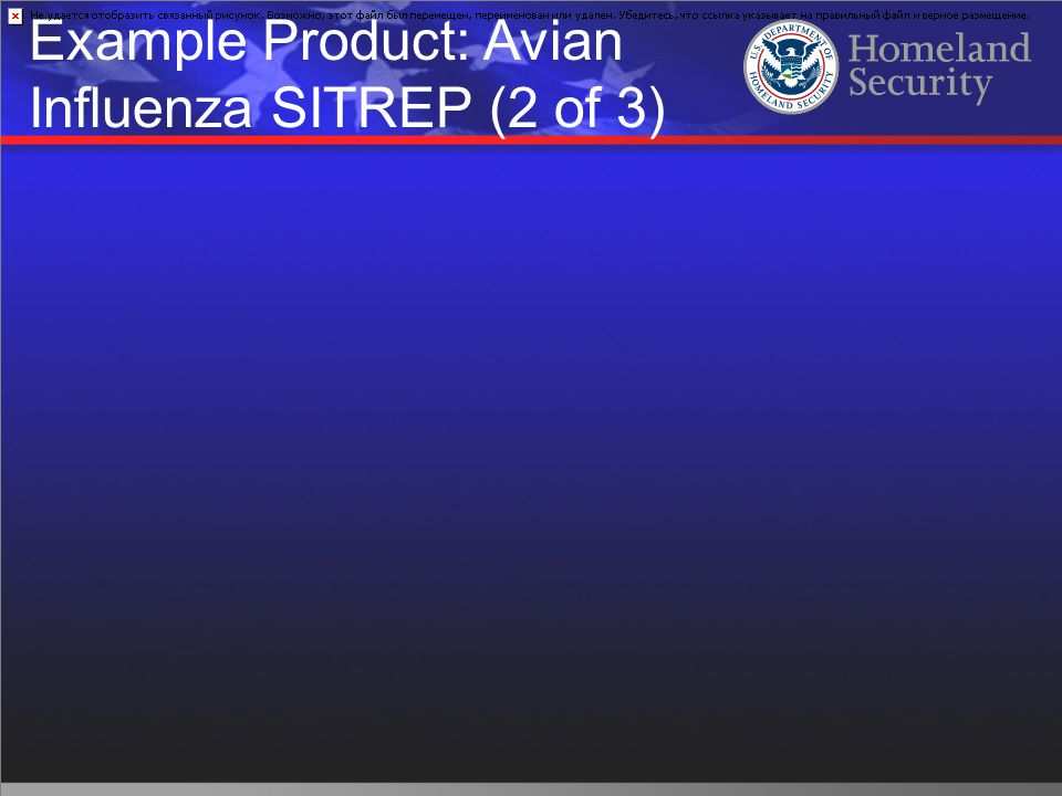 Example Product: Avian Influenza SITREP (2 of 3)