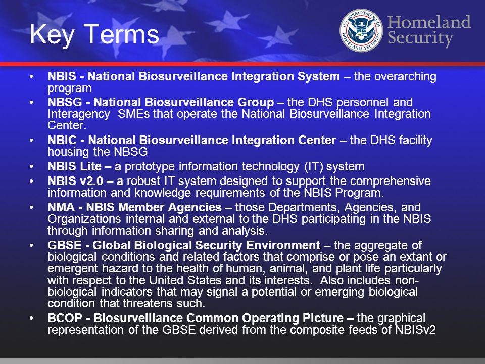 Key Terms NBIS - National Biosurveillance Integration System – the overarching program NBSG - National Biosurveillance Group – the DHS personnel and I