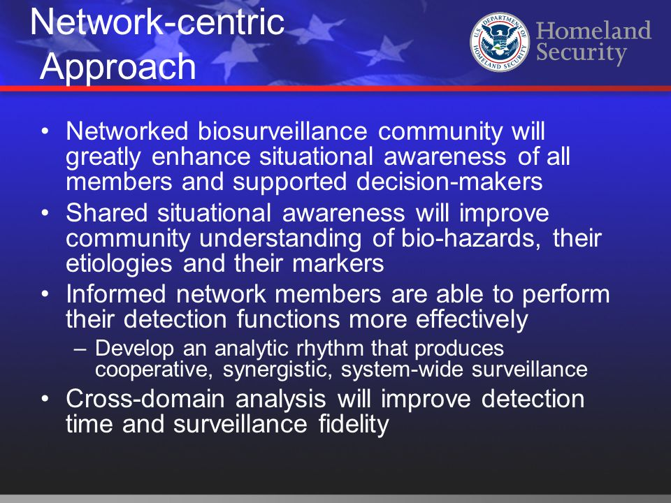 Networked biosurveillance community will greatly enhance situational awareness of all members and supported decision-makers Shared situational awarene